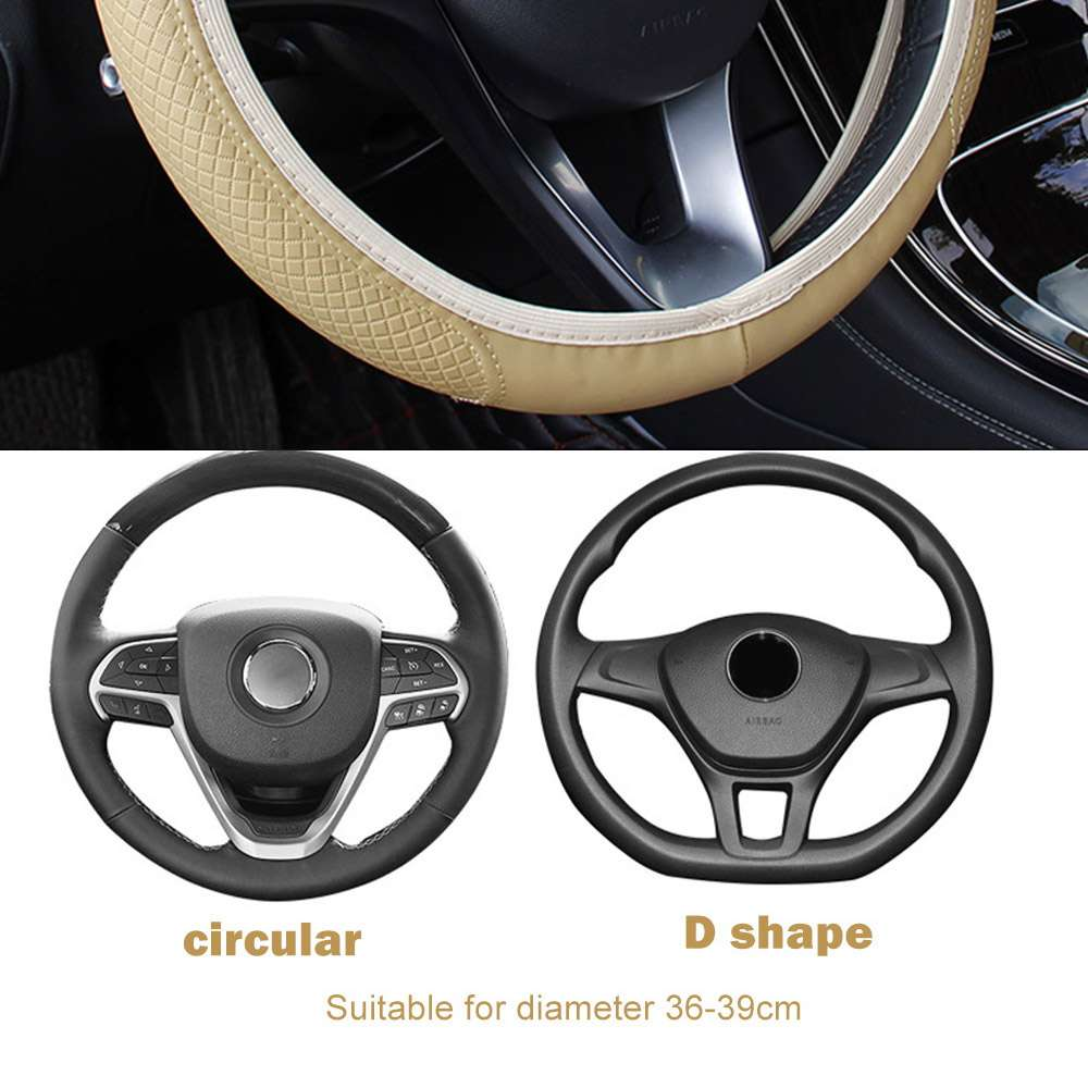 FORAUTO Car Steering Wheel Cover Skidproof Auto Steering wheel Cover Anti Slip Universal Embossing Leather Car 1