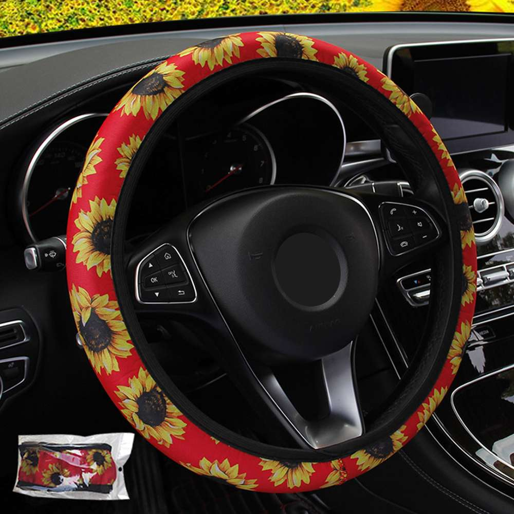 FORAUTO Car Steering Wheel Cover Sunflower Floral Print Steering Covers Auto Non Slip Stretchy Neoprene Universal 1