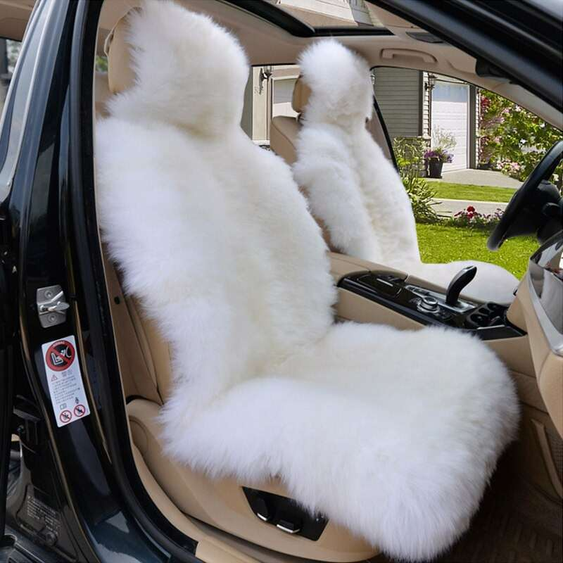 Carpoise 2 Sets Winter Warm Natural Fur Cheepskin Car Seat Covers Style 2