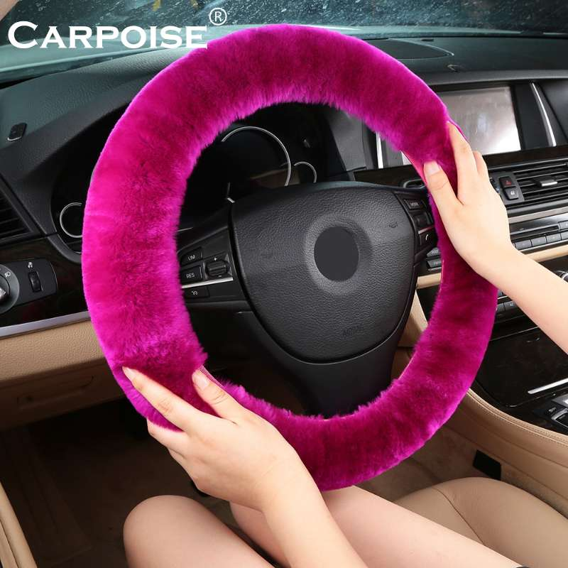 Carpoise Authentic Sheepskin Car Stretch on Steering Wheel Covers