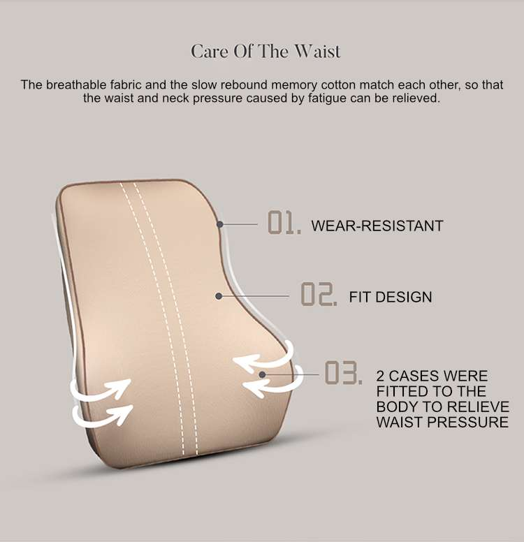 Carpoise Car Seat Lumbar Support Back Neck Support Headrest Cushion Sets Styling 2
