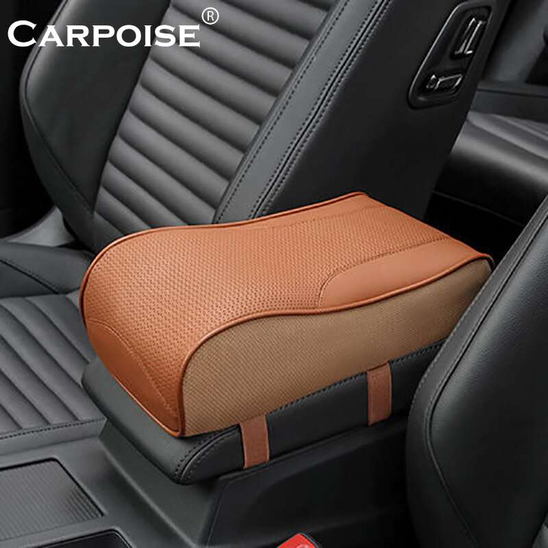 Carpoise Genuine Leather Universal Car Armrest Box Cover Pads