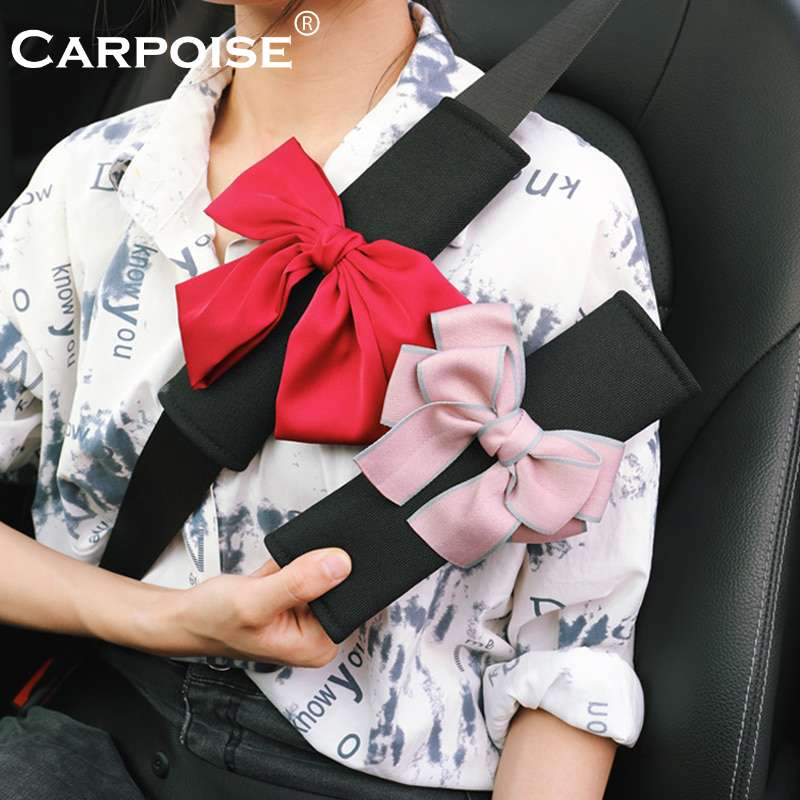 Carpoise Ice Silk Bowknot Universal Car Seat Belt Cover Pads