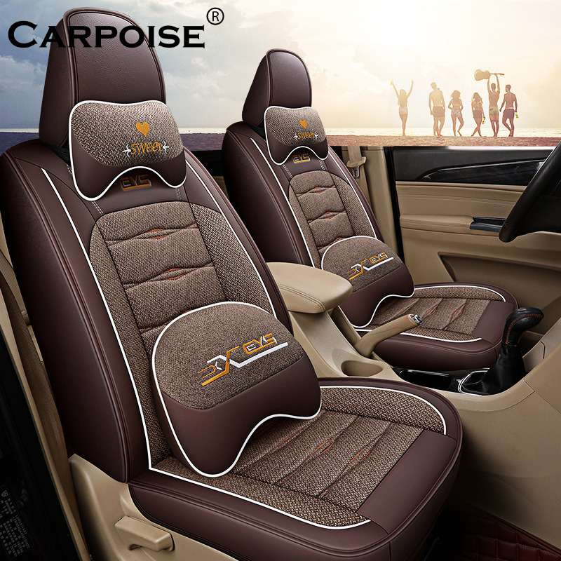 Carpoise Leather High Quality Linen Car Seat Covers – Styling 5