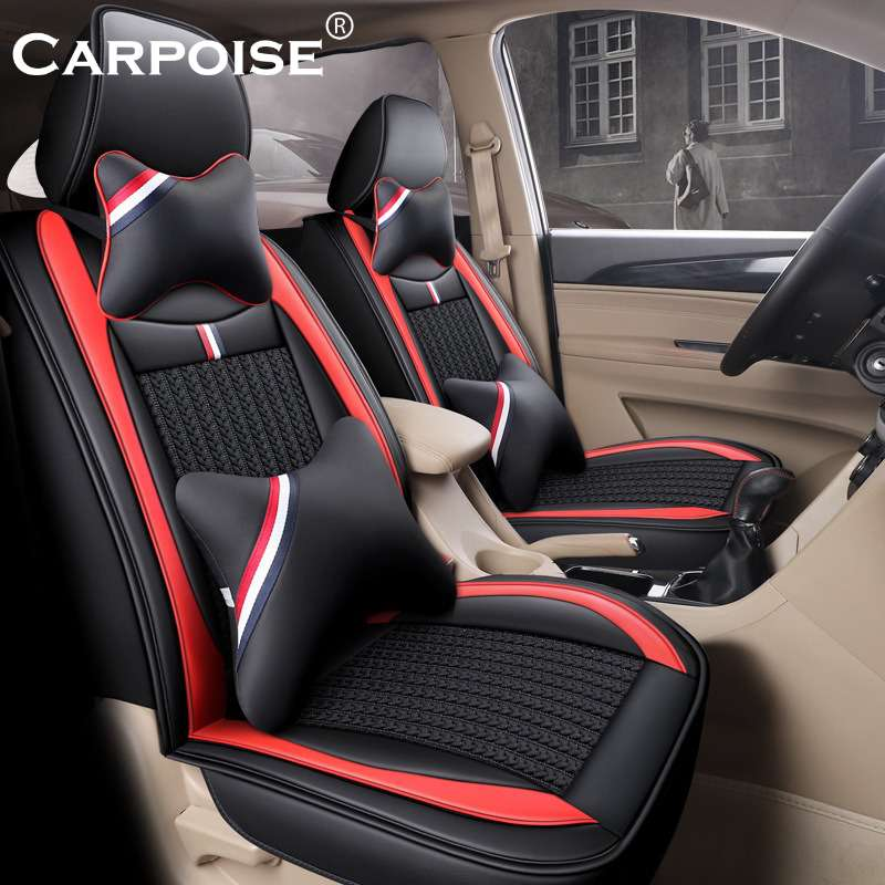 Carpoise Leather Ice Silk Car Seat Covers Styling 7