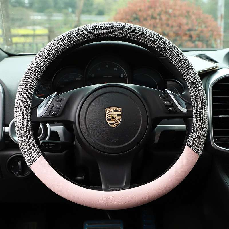 Carpoise Non-Slip Sweat-Absorbent Wool Leather Car Steering Covers