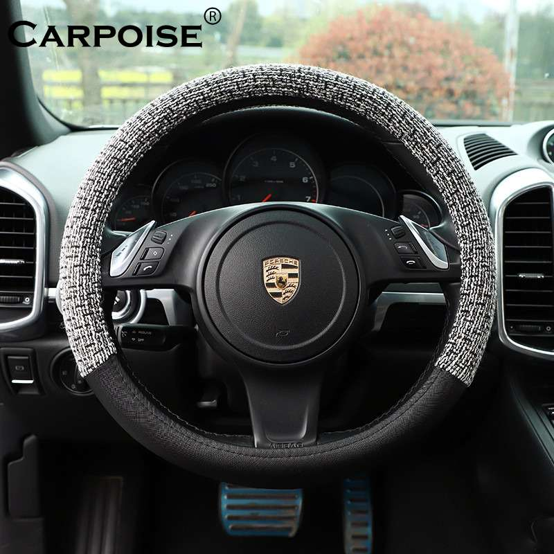 Carpoise Non Slip Sweat Absorbent Wool Leather Car Steering Covers