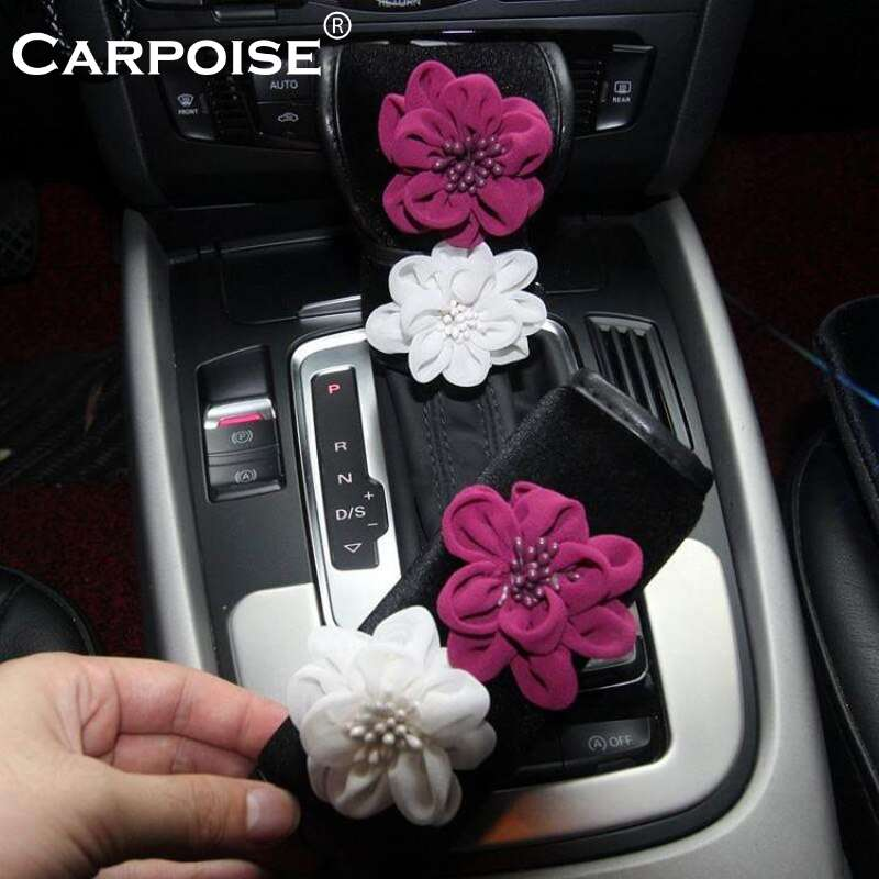 Carpoise Plush Rose Flower Car Gear Shift Cover Hand brake Covers Seat Belt Cover Rearview Mirror Cover