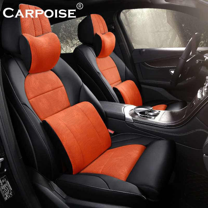 Carpoise Real Leather Oxford Cloth Car Seat Covers Styling 2