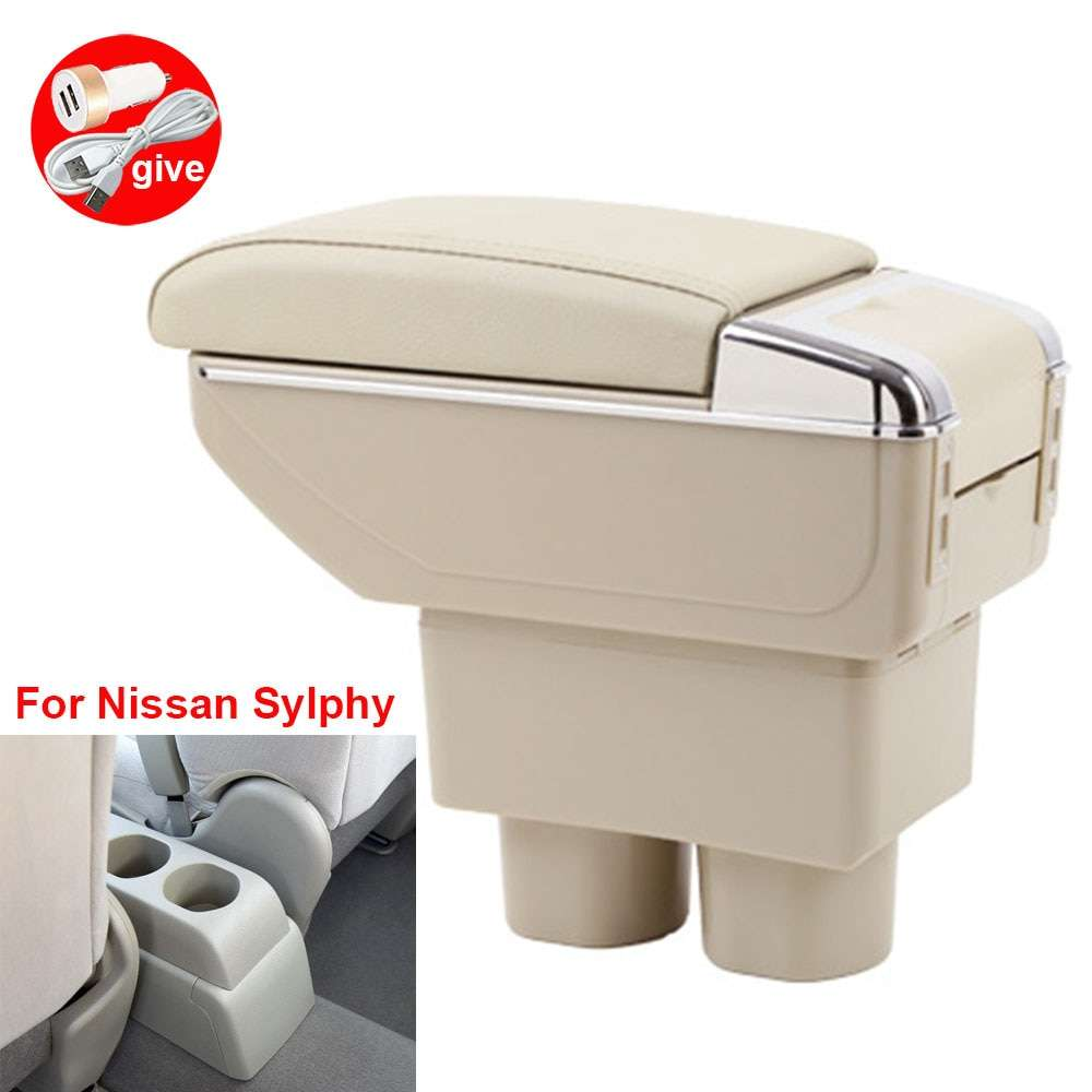 For Nissan Sylphy Armrests car armrest box central storage box modification accessories with USB LED light